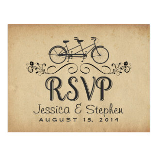 RSVP Vintage Tandem Bicycle Reply Postcards