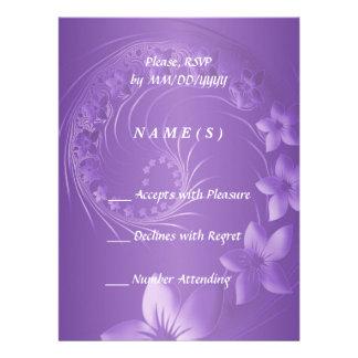 RSVP - Violet Abstract Flowers Custom Invites