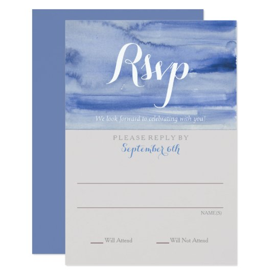 Rsvp Watercolor Blue Enclosure Card