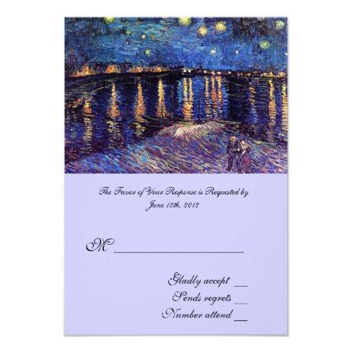 RSVP, wedding acceptance card, Starry Night ... Custom Invitations