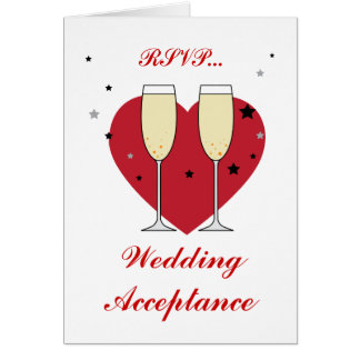 RSVP Wedding Acceptance toast glasses card