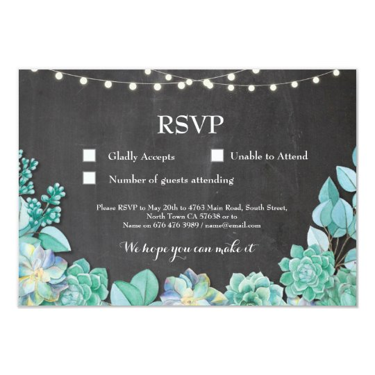 RSVP Wedding Chalk Mint Succulents Cards Invites