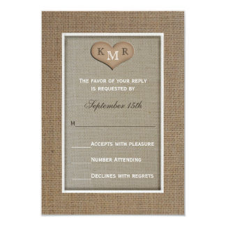 RSVP Wedding Invitation -- Burlap