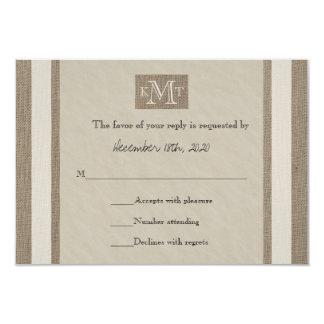 RSVP Wedding Invitation -- Burlap Parchment Look