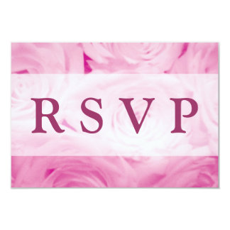 """RSVP Wedding invitation cards with pink roses 3.5"""" X 5"""" Invitation Card"""
