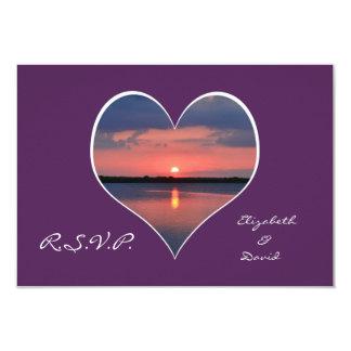RSVP Wedding Invitation - Sunset in Heart Purple