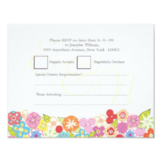 RSVP Wedding Monogram Summer Spring Flowers Cards 11 Cm X 14 Cm Invitation Card