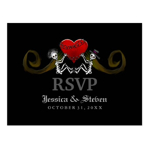RSVP Wedding Postcard - Skeletons with Heart