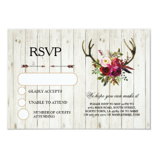 RSVP Wedding Rustic Antlers Stag Cards Invites
