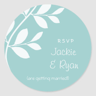 RSVP Wedding Stickers Leaf Branch Blue