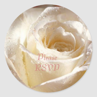 RSVP white dewy rose Classic Round Sticker