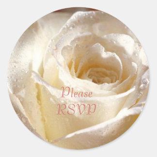 RSVP white dewy rose Round Sticker