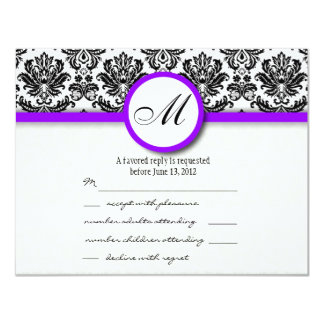 "RSVP with Black and Purple Damask Monogram 4.25"" X 5.5"" Invitation Card"