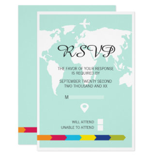 Rsvp World Travel Wedding 9 Cm X 13 Cm Invitation Card