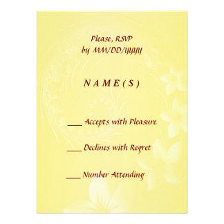 RSVP - Yellow Abstract Flowers Custom Invites