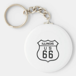RT 66 Illinois Basic Round Button Key Ring