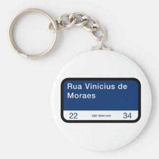 Rua Vinicius de Moraes, Rio de Janeiro Street Sign Basic Round Button Key Ring