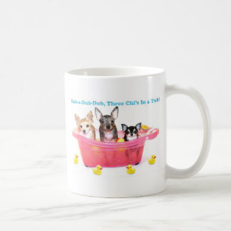 Rub a Dub Dub Three Chis in a Tub Basic White Mug