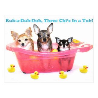 Rub a Dub Dub Three Chis in a Tub Postcard