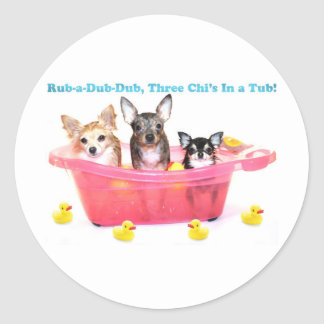 Rub a Dub Dub Three Chis in a Tub Round Sticker