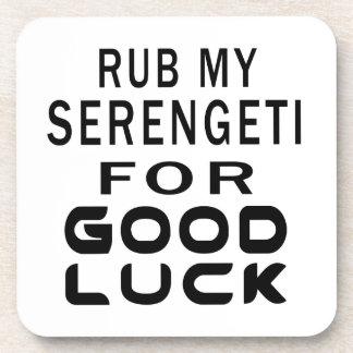 Rub My Serengeti Cat For Good Luck Drink Coaster