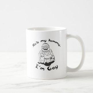 Rub my tummy, I'm gay. Classic White Coffee Mug