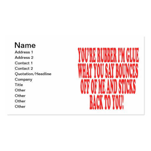 Rubber And Glue Business Card Templates