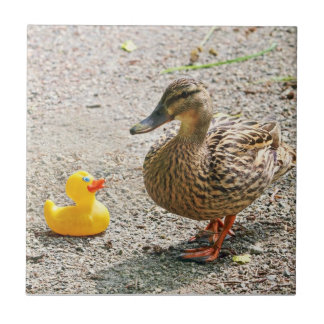 Rubber Duck and Mother Duck Small Square Tile