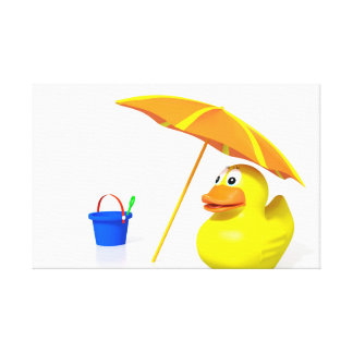 Rubber duck at the beach stretched canvas print