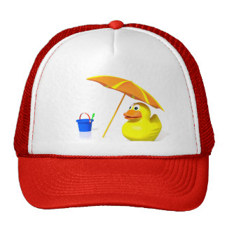 Rubber duck at the beach mesh hats