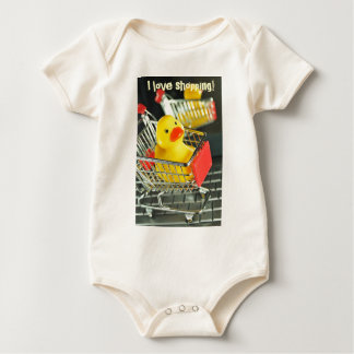 Rubber duck baby shopping concept baby bodysuit