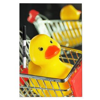 Rubber duck baby shopping concept dry erase board