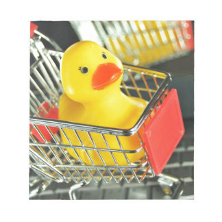 Rubber duck baby shopping concept notepad