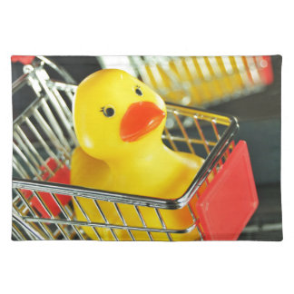 Rubber duck baby shopping concept placemat
