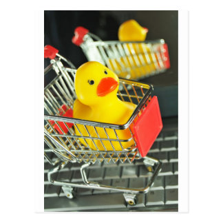 Rubber duck baby shopping concept postcard