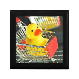 Rubber duck baby shopping concept small square gift box