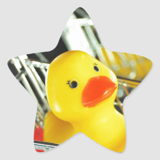 Rubber duck baby shopping concept star sticker