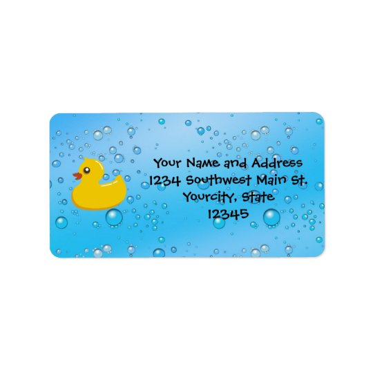 Rubber Duck Blue Bubbles Personalised Kids Address Label