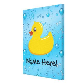 Rubber Duck Blue Bubbles Personalized Kids Canvas Print