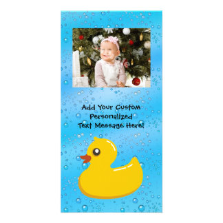 Rubber Duck Blue Bubbles Personalized Kids Customized Photo Card