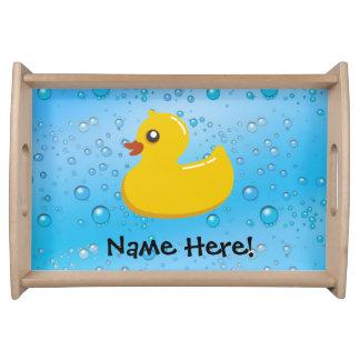 Rubber Duck Blue Bubbles Personalized Kids Serving Platter