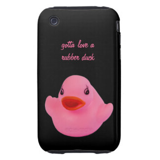 Rubber duck cute pink, fun, novelty, custom gift iPhone 3 tough case