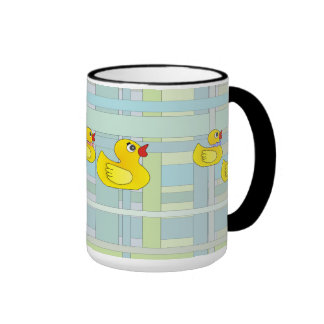 Rubber Duck Family on Henry Plaid Coffee Mugs