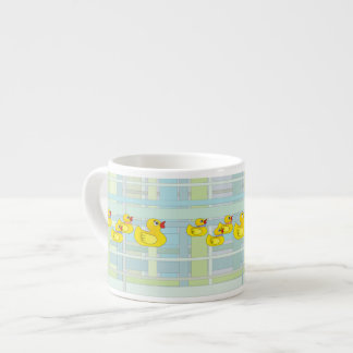 Rubber Duck Family on Henry Plaid Espresso Mugs