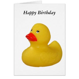 Rubber duck fun cute yellow happy birthday card