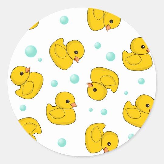 Rubber Duck Pattern Round Sticker