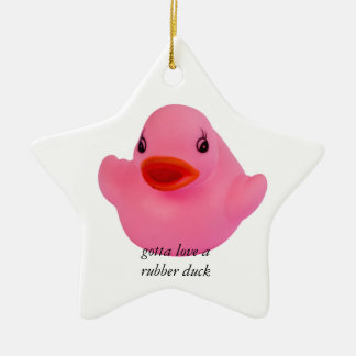 Rubber duck pink cute fun custom ornament, gift christmas ornament