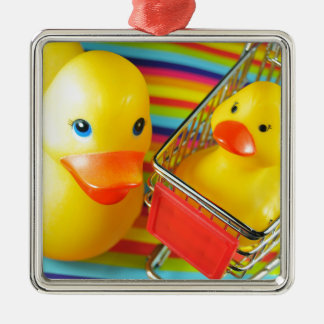Rubber duck Silver-Colored square decoration