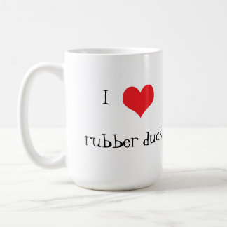 Rubber duck yellow cute I love heart coffee mug