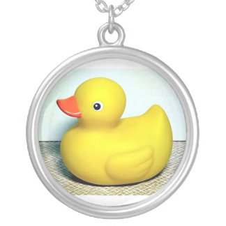 Rubber Duckie Silver Plated Necklace